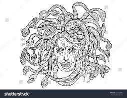 hand draw medusa head zentangle style stock vector 312593885