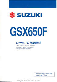 2009 suzuki gsx650f motorcycle owners manual