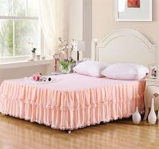 Skirted Coverlet Korean Waterfall 3 Tiered Ruffles Pale Peach Cotton Chiffon Bed