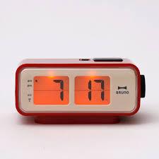 retro digital flip desk alarm clock red industrial design