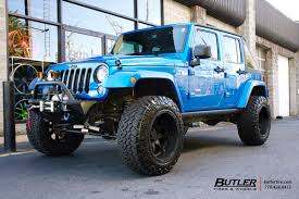 matte black jeep with teal jeep wrangler vehicle gallery at butler tires and wheels in
