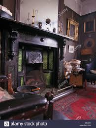 large black marble fireplace in original edwardian study stock