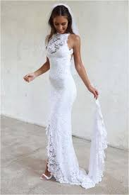 white wedding dress white high neckline lace backless mermaid wedding dresses court