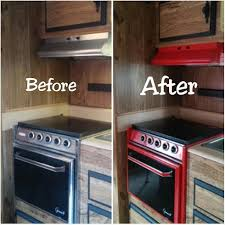 red camper stove re paint travel trailer stove red and black rv
