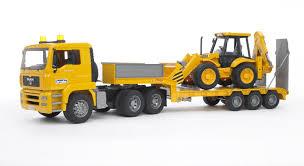 amazon com bruder toys man tga low loader truck with jcb backhoe