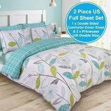 Double Duvet Cover Sets Uk Allium Dandelion Teal Double Duvet Cover Set Reversible Bedding
