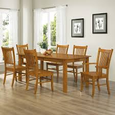 Oak Dining Room Table And 6 Chairs Coaster Home Furnishings 7 Mission Style Solid