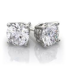 diamond stud earring or martini diamond stud earrings in 14k white gold 1 0 ctw si1