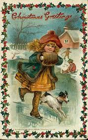 little skating vintage victorian christmas postcard the