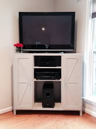 Tall Corner Tv Cabinet Ana White Tall Corner Media Console Barn Door Twist Diy Projects