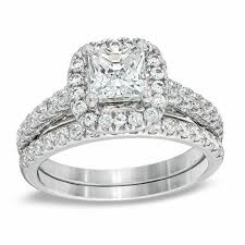 Wedding Set Rings by 2 Ct T W Princess Cut Diamond Frame Bridal Set In 14k White Gold
