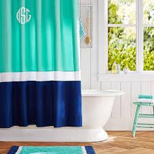 Navy Curtain Color Block Shower Curtain Pool Royal Navy Pbteen