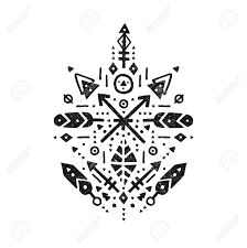tribal sign with arrow feathers and geometric symbols