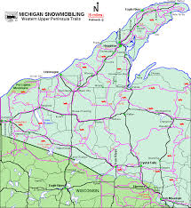 up michigan map michigan snowmobiling peninsula snowmobile trail