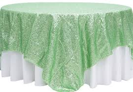 Mint Green Table Cloths Glitz Sequin Table Overlay Topper 90
