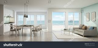 sea view living room sea view dining living room kitchen stock illustration 495079729
