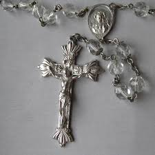 creed rosary large beautiful vintage sterling silver signed creed
