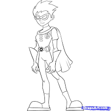 young justice robin coloring pages coloring