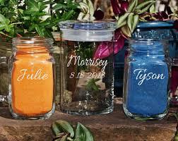 Sand For Wedding Unity Vase Mini Mason Jar Unity Sand Set Custom Etched Wedding Unity