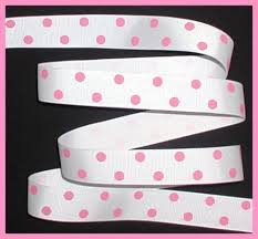 pink polka dot ribbon hot dots pink on white polka dot grosgrain ribbon 5 yds 7 8 wide