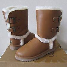 s ugg australia grandle boots ugg australia grandle leather buckle shearling boots chestnut us 7