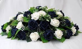 artificial wedding flowers top table arrangement in ivory and navy blue roses artificial