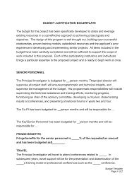 sample budget justification narrative