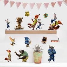 compare prices anime wallpaper online shopping buy low price zootopia animals wall stickers decals for kids rooms home decoration art decorative sticker anime posters