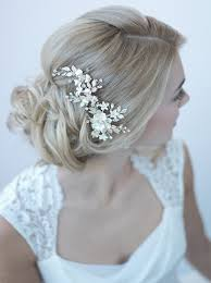 bridal flowers for hair ivory gold floral clip shop wedding accessories usabride