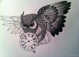 owl and clock tattoo design tattoo designs tattoo pictures