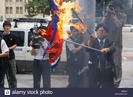 Seoul Flag Man Burning North Korean Flag Seoul Stock Photo Royalty Free