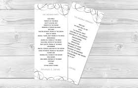 ceremony program template diy wedding program template grey swirls tea length printable