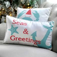 themed sayings christmas sayings on pillows for a coastal themed