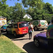 rainbow cars painting the hamptons community