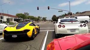 mclaren p1 crash mclaren p1 meets nissan gt r at the lights they leave in a rush