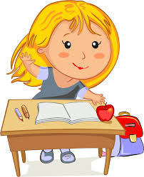 Clipart Blonde Raising Her Hand Sitting At Her Desk In