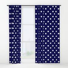 White And Blue Curtains White Blue Navy Polkadot Pattern Window Curtains By