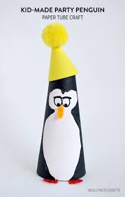 kid made paper tube penguin craft for kids crafts for kids and