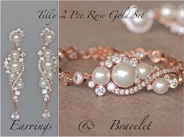 bridal gold set gold bridal set gold earrings bracelet set pearl
