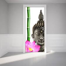 deco chambre zen bouddha sticker porte bouddha zen 204 x 83 cm u2013 stickers nature fleurs