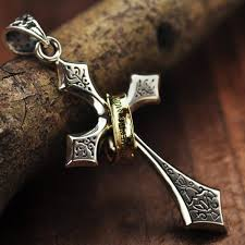 silver cross necklace pendants images Men 39 s sterling silver ring cross pendant necklace jpg