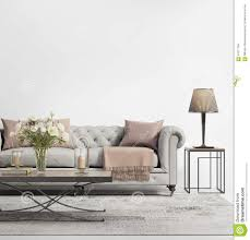 Chic Living Room by Contemporary Elegant Chic Living Room With Grey Tufted Sofa Stock