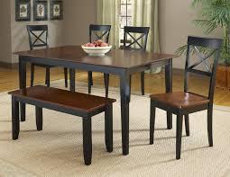 bernards jaguar 6 piece black merlot dinette table set with bench
