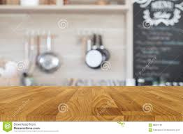 Kitchen Background Wood Table Top With Blur Kitchen Background Stock Photo Image