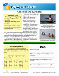 olympic canoeing and kayaking worksheet education com