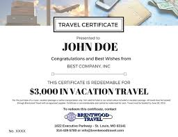 travel gift certificates travel certificates