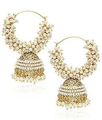 pearl hoop earrings youbella golden plated hoop earrings for women golden