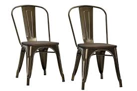 Wood Dining Chairs Designs Amazon Com Dhp Fusion Metal Dining Chair With Wood Seat Set Of 2