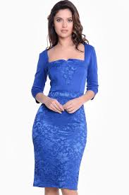 carmen 3 4 sleeve lace midi dress in royal blue iclothing