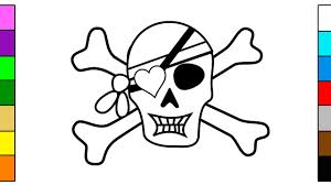 learn colors for kids with pirate skull u0026 skeleton coloring pages